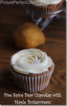 Five Spice Pear Cupcakes with Maple Buttercream