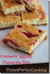 cranberry eggnog cheesecake bars
